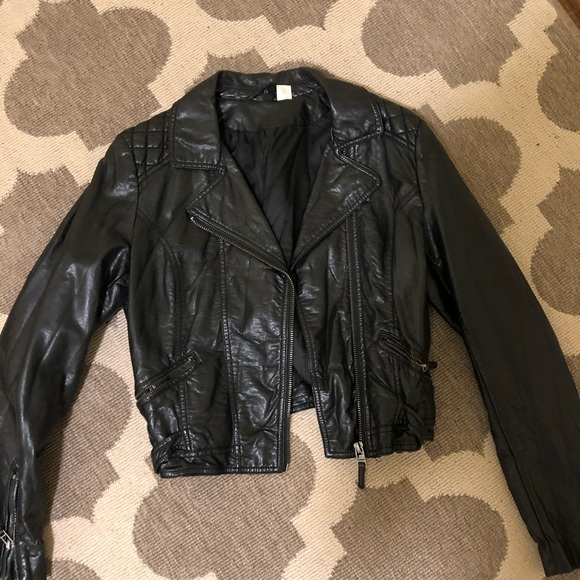 no sale tax new high quality outlet store H&M women's leather jacket